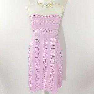 J CREW STRAPLESS LAVENDER EYELET DRESS NWOT